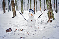 Snowman in forest Stock Photo