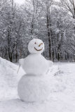 Snowman in forest Royalty Free Stock Photography