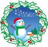Snowman with frame Royalty Free Stock Image