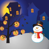 Snowman of frame. On christmas day Stock Photos