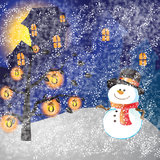 Snowman of frame. On christmas day Stock Photography