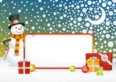 Snowman Frame. A fully scalable vector illustration of Snowman hold frame. Happy holidays Royalty Free Stock Images