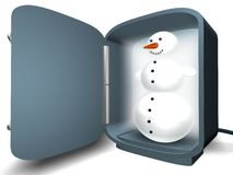 Snowman in the fridge stock photo