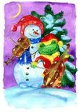 Snowman and frog playing Christmas music Stock Image