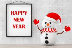 Snowman in front of Brick Wall with Frame Happy New Year Sign. 3 Stock Image