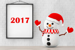 Snowman in front of Brick Wall with Frame 2017 Sign. 3d Renderin Stock Photography