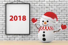 Snowman in front of Brick Wall with Frame 2018 Sign. 3d Renderin Stock Photos
