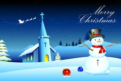 Snowman in front of Church stock illustration