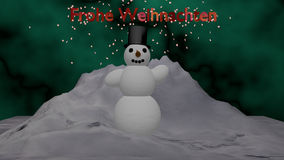 Snowman in front of a snow mountain. Schneemann stands in front of a snow mountain and waves. Text in German Merry Christmas. Christmas picture as 3d vector illustration