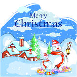Snowman in frost winter background for Merry Christmas holiday celebration Stock Image