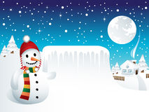 Snowman with Frozen Panel Royalty Free Stock Images