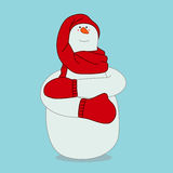 Snowman frozen. Snowman in a red scarf, hat and mittens on blue background. Christmas vector illustration Royalty Free Stock Images