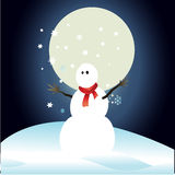 Snowman and full moon with Christmas background and greeting card vector Royalty Free Stock Photos