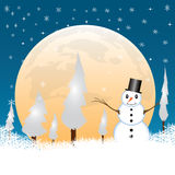 Snowman in a full moon night Stock Photography