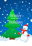 Snowman and Fur Tree in winter. Snowflakes Winter Happy Concept Stock Images
