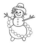Snowman with garland of snowballs Stock Images