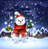 Snowman with garland Stock Image