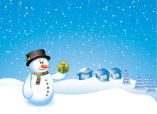 Snowman with a gift Stock Photography
