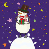 Snowman with gift Royalty Free Stock Photography