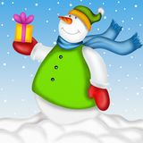 Snowman with gift Stock Image