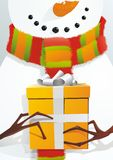 Snowman with Gift Stock Photo