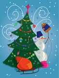 Snowman with gift bag and Christmas tree Royalty Free Stock Photos