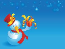 Snowman with gift on blue Royalty Free Stock Image