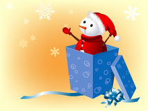 Snowman in gift box Royalty Free Stock Photo