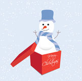 Snowman in gift box christmas Royalty Free Stock Image