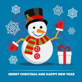 Snowman with gift box on Christmas Eve. Royalty Free Stock Image