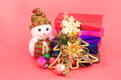 Snowman and gift box decoration of christmas Royalty Free Stock Photo