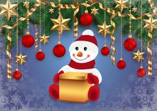 Snowman with gift box and festive background. Illustration of snowman with gift box, fir tree branches, Christmas balls, stars, streamers and snowflakes Stock Images