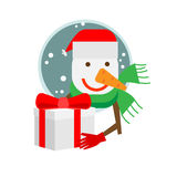 Snowman with a gift box Royalty Free Stock Image