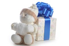 Snowman and gift box on white Royalty Free Stock Photography