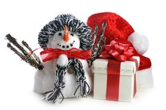 Snowman and gift box on white Stock Photography