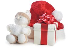 Snowman and gift box on white Royalty Free Stock Photos