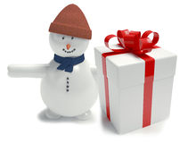 Snowman. Gift box white Royalty Free Stock Photos