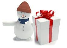 Snowman. Gift box white Royalty Free Stock Photos