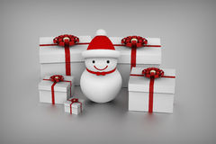 Snowman and gift boxes Royalty Free Stock Photo