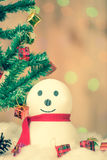 Snowman and gift boxes Stock Images