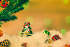 Snowman and gift boxes Stock Photos