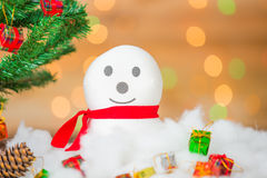 Snowman and gift boxes Stock Photo