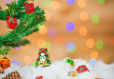 Snowman and gift boxes Stock Image