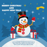 Snowman with gift boxes on Christmas Eve. Royalty Free Stock Photos
