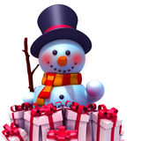 Snowman with gift boxes 3d illustration. Over white background Royalty Free Stock Photo