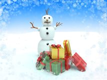 Snowman with gift boxes. Royalty Free Stock Images