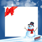 Snowman gift card ribbon Royalty Free Stock Image