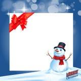 Snowman gift card ribbon Royalty Free Stock Image