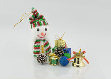 Snowman and gift chirstmas Stock Images