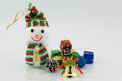 Snowman and gift chirstmas Stock Photos